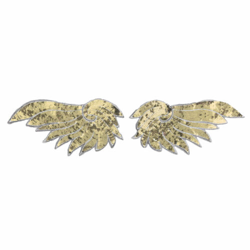 2Pcs Sequins Wing Organza Lace Embroidery Patches Clothes Dress Jeans Coat Badge
