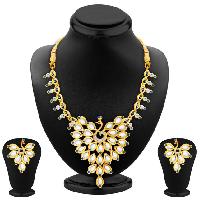 Sukkhi Ethnic Peacock Gold Plated AD Necklace Set For Women 2369NADS850