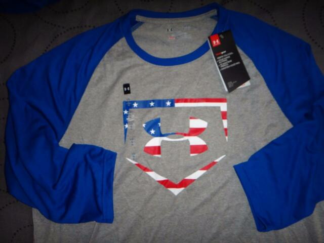 32b16b06 UNDER ARMOUR USA BASEBALL HOME PLATE LOGO FLAG SHIRT SIZE XL L MEN NWT $$