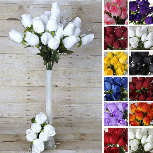 84 XL Velvet ROSE BUDS Long Stems Bushes Wedding Craft Party Flowers Wholesale