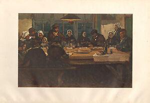 1899 Viktorianisch Studio Aufdruck ~ Le Repas D' Adieu Zentral Panel Von Charles