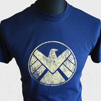 Agents of Shield T Shirt Marvel Avengers Captain America Iron Man Super Hero blu