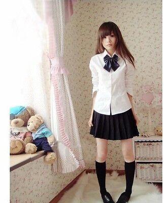 #S Japanese School Girl White Uniform Dress Black Costume Surcoat Cosplay Lady