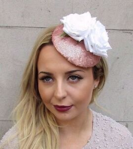 Or Rose Blanc A Paillettes Fleur Fascinator Chapeau Mariage Pince