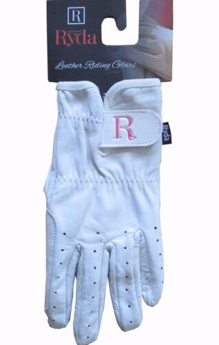 Ryda Femmes Blanc Cuir Cheval de dressage équitation Gants Small Medium Large