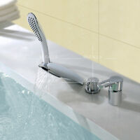 Modern Bath Roman Waterfall Tub Faucet Tap 4 Pcs Set W/ Hand Shower Brass Chrome