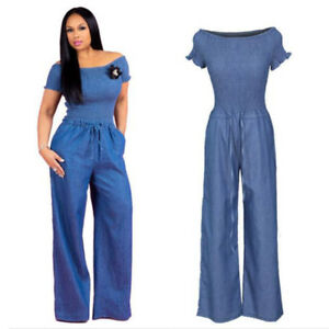Women-Off-Shoulder-Short-Sleeve-Tops-Blue-Jeans-Denim-Jumpsuit-Casual-Loose-Pant
