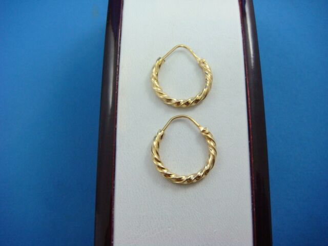 18k Yellow Gold Small Twisted Design Hoop Earrings 2 Grams Made In Italy