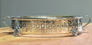 Victorian-Silver-Plate-round-Casserole-Dish-Holder-Serving-Tray-for-8-034-1-2