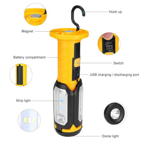 Lamp Hand LED COB Work Light 4 Modes USB Rechargeable Magnetic Inspection Torch