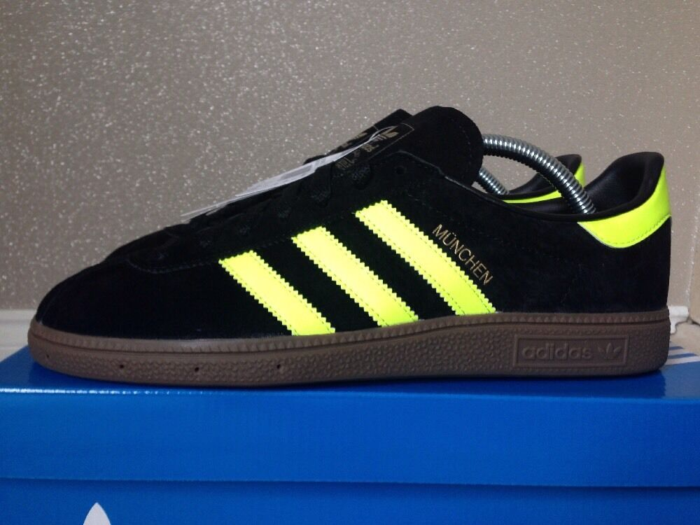 Adidas Munchen Black Yellow CW Suede Rare Size 8 Retro 80s Football Casuals BNIB