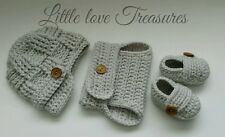 NEW Newborn Baby Newsboy Hat Diaper cover and Booties Crochet photo prop Gift