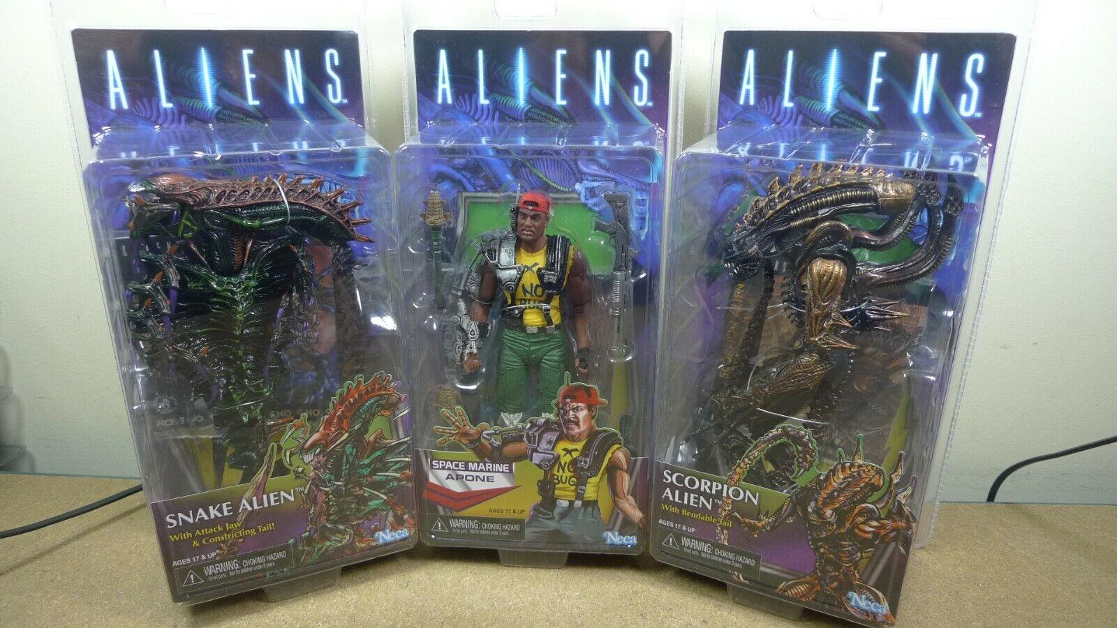 Neca Aliens Serie 13 Kenner Apone, Serpiente & Scorpion Alien Set Completo De 3 figuras
