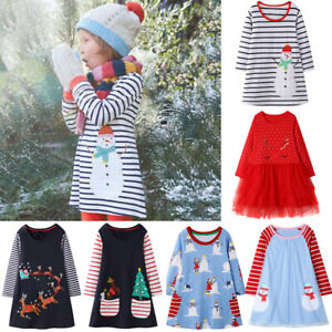 Toddler-Kids-Baby-Christmas-Snowman-Print-Tulle-Princess-Striped-Dress-Outfits