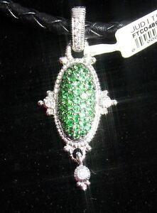 """$3,900 Judith Ripka Diamant 18k Or Blanc Vert Pendentif 16"""" Collier Femmes-afficher Le Titre D'origine Les Couleurs Sont Frappantes"""