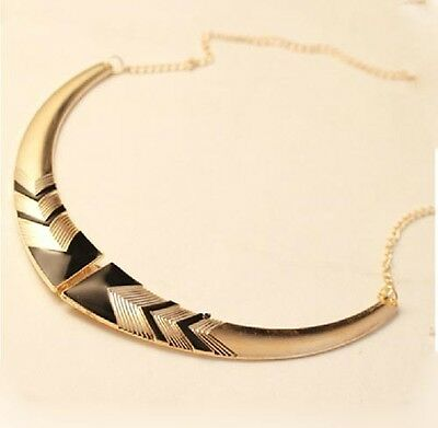 Fashion Gothic Vintage Women fold 2 color Bib collar Party Statement Necklace e