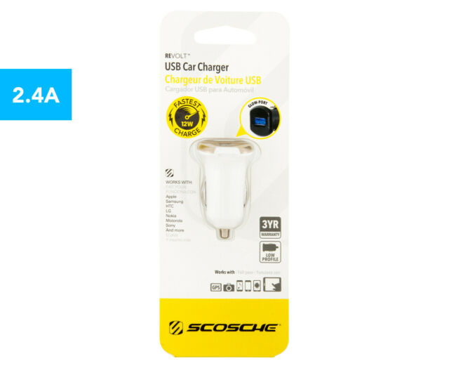 Scosche reVOLT USB 12W Fast 2.1A Car Charger/Charging f/Phones/Tablets/GPS White