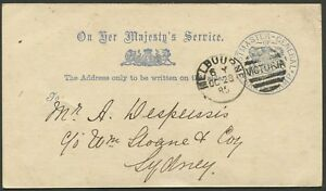 Victoria-034-POSTMASTER-GENERAL-034-printed-in-blue-on-cream-postal-card-30-Oct-1885