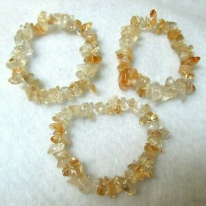 "Handcrafted Free Form Natural Citrine Stretch Bracelet 6"" Center not Stretched"
