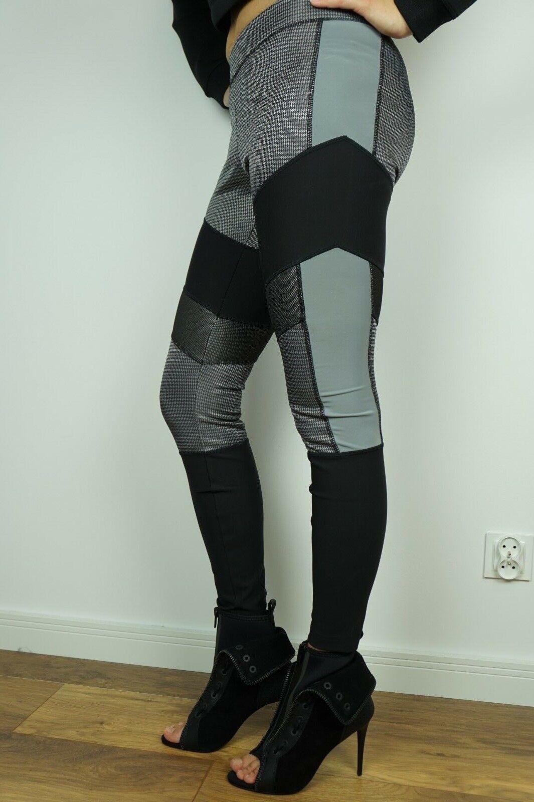 nouveau Alexander Wang H&M Reflective Pants courirway Yoga Leggings Blac gris Plaid US8