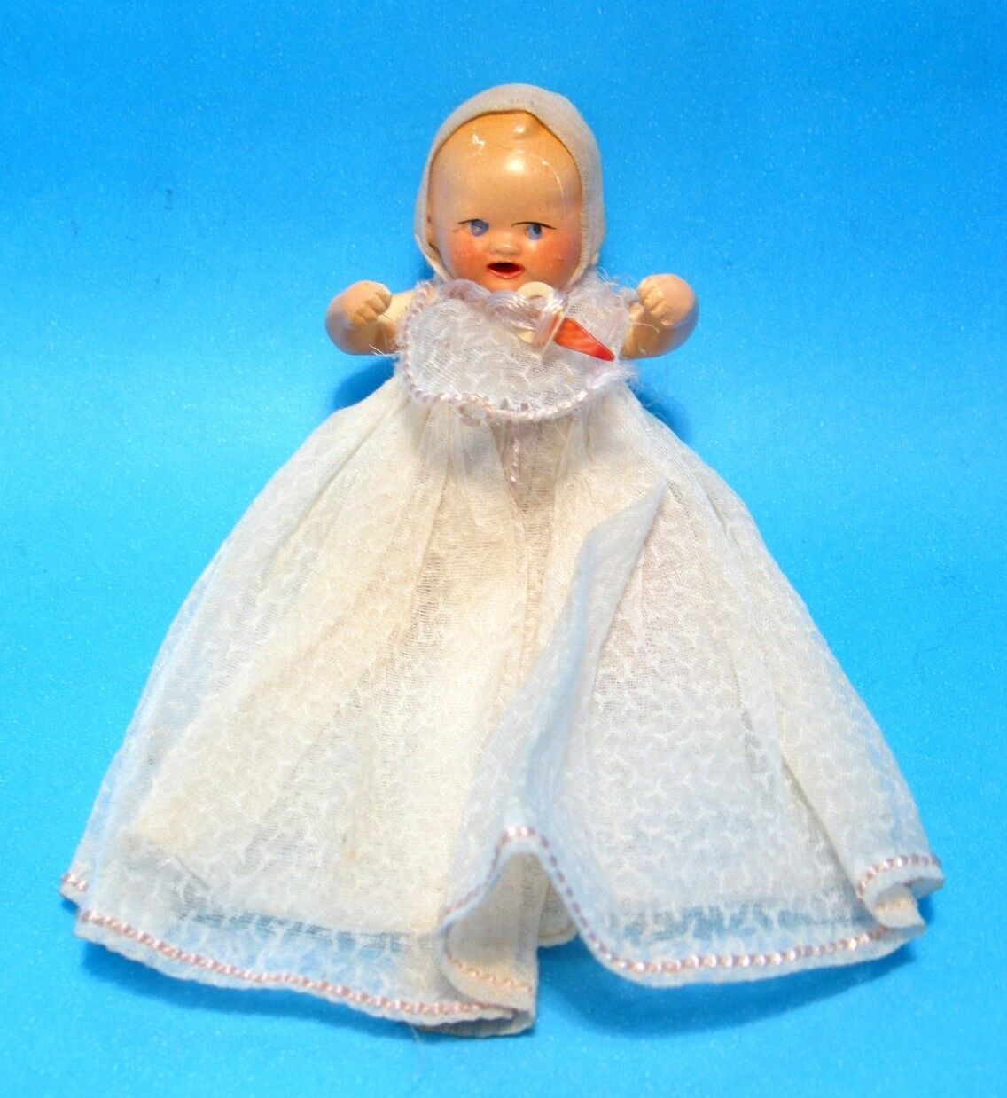 "1930 German Mini 3"" Composition Baby Doll Hertwig bianca Dress Bib&Pacifier AS-IS"