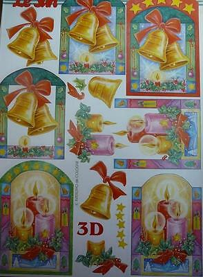 Christmas 3D Paper Tole Sheet Bells /& Candles NEW