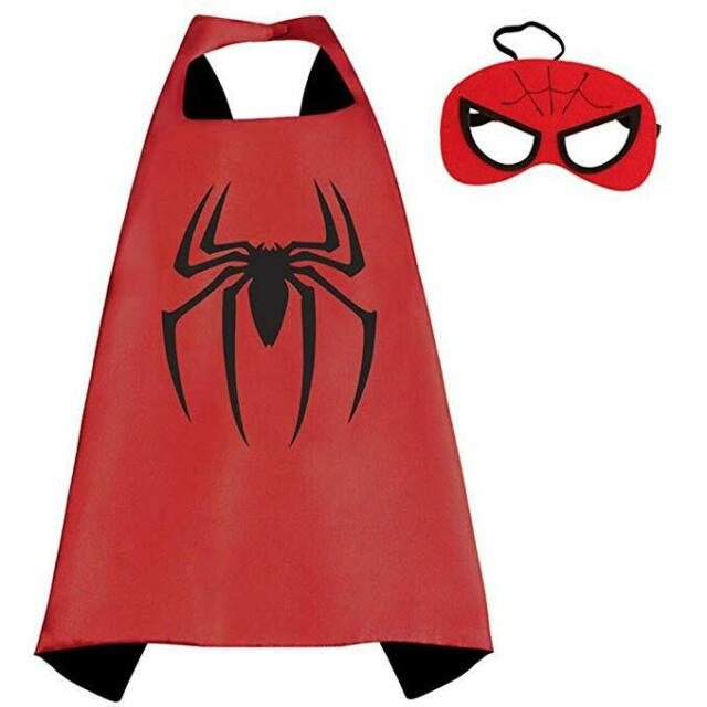 Double-Sided Capes Children Cartoon Satin Superhero Cloak Halloween Role-Playing 4 Kinds of Superhero Capes Boy and Girl Party Birthday Gifts Mask Wrist Band and Belt Matching Closer to The Hero