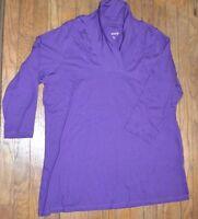 Roman's Purple Long Sleeve Top Size 1x 100% Cotton Cowl Neck Shirt