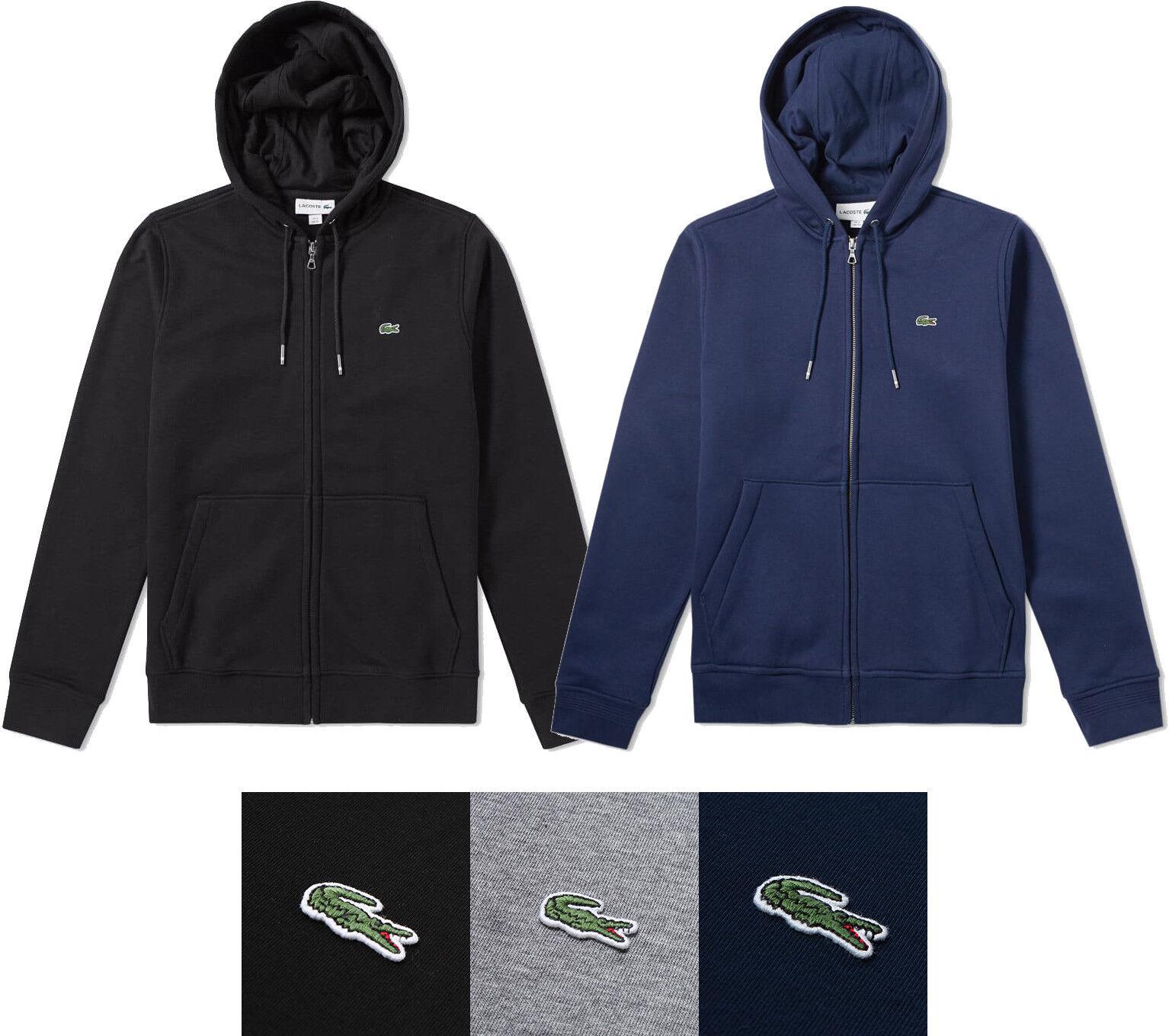 Herren Lacoste Hoodie Full Zip Fleece Sweatshirt New Authentic