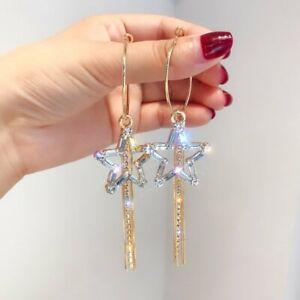 Luxury-925-Silver-Gold-Tassel-Earrings-Women-Crystal-Star-Drop-Dangle-Jewelry