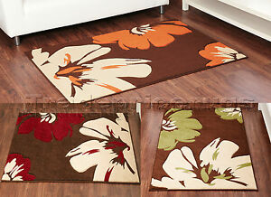 MED-TO-EXTRA-LARGE-FLORAL-FLOWER-CHOCOLATE-BROWN-ORANGE-RED-LIME-GREEN-BEIGE-RUG