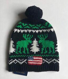 ab86b1735ad  98 NWT Mens Polo Ralph Lauren Flag Reindeer Pom Pom Beanie Skull ...