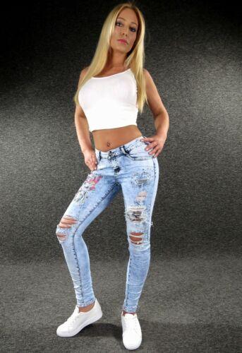 Zazou Cut Out Stretch Jeans XS S M L XL DA DONNA DESIGNER Skinny Jeans Tubolari e819-l