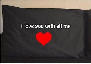 Je-vous-aime-de-tout-mon-c-ur-Taie-d-039-Oreiller-Imprime-Noir-Taie-D-039-oreiller-Design-Mignon
