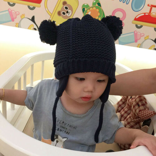 Baby Infant Warm Winter Hat Girls Boys Toddler Knit Cap with Earflap Outdoor UK