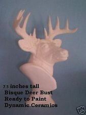 Deer Buck Bust 7.5 inches Tall Ready to paint ceramic bisque Figurine