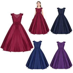Kid-Princess-Flower-Girl-Dress-Satin-V-back-Party-Bridesmaid-Wedding-Formal-Gown