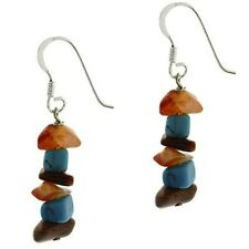 925 Silver Carnelian, Tiger Eye and Created Turquoise Chip Earrings