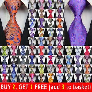 163-Style-Mens-Silk-Tie-Set-Jacquard-Woven-Necktie-Set-Wedding-Paisley-Stripe-UK