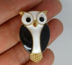 Owl-bird-brooch-black-white-enamel-crystal-retro-vintage-style-pin-gift-box