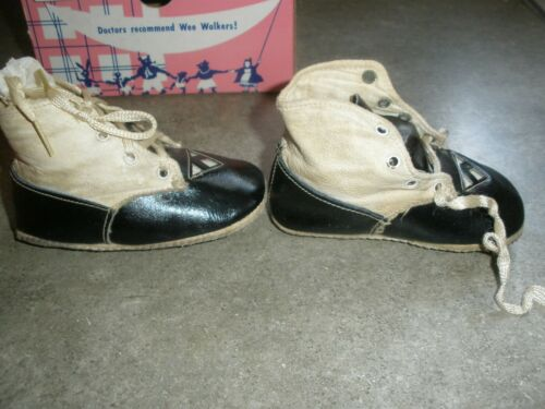 Antique Baby Shoes Blue & White 40's