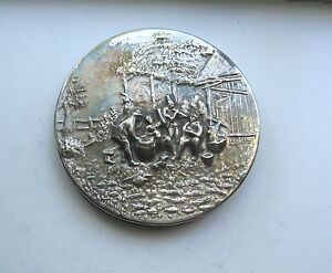 Vintage Zilpla 90 Silver Plate Embossed Scenic Dutch Powder / Mirror Compact