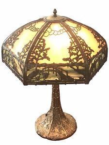 EARLY-20TH-C-ANTIQUE-SIGNED-RAINAUD-SLAG-GLASS-PANEL-LAMP-JAPANESE-GARDEN-SCENE