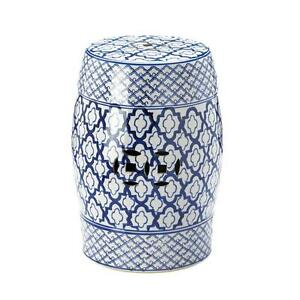 Image is loading Moroccan-tile-print-blue-white-ceramic-outdoor-stool-  sc 1 st  eBay & Moroccan tile print blue white ceramic outdoor stool end table ... islam-shia.org