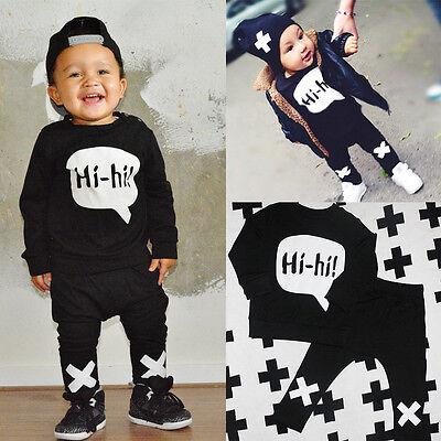 Toddler Baby Boys Hi-hi Long Sleeve Tops T-shirt+Pants 2pcs Outfits Set Costume