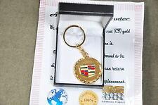 24K  gold plated chrome cadillac metal  keyring  3d car key chain car ring fob
