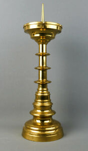 Grosser-Scheibenleuchter-Messing-Neogotik-19-Jahrhundert-45-5-cm