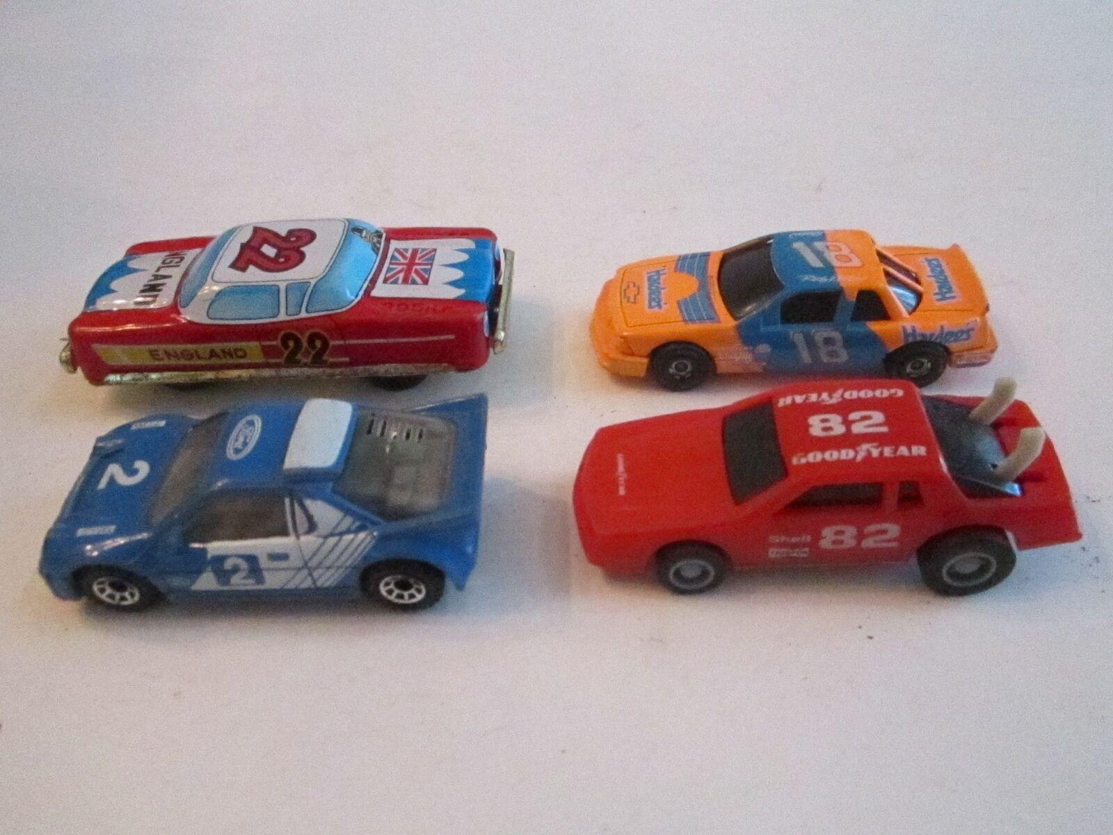 4 VINTAGE TOY RACING CARS, MATTEL, RACING CHAMPIONS, '86 MATCHBOX - MB 1