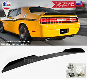 For-08-14-Dodge-Challenger-Black-Rear-Decklid-Spoiler-Gurney-Flap-Wickerbill