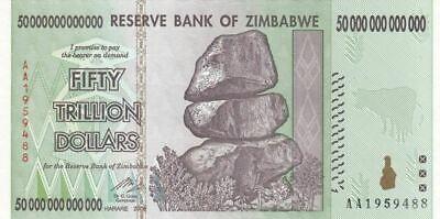 Zimbabwe 50 Million Dollar AA 2008 Banknote UNC P79  Part of 100 Trillion Series
